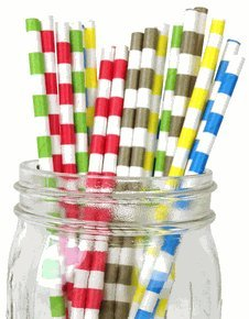 Just Artifacts - Decorative Paper Straws 100pcs - Rugby Stripe Pattern - Assorted Colors (Mint Color Mason Jars compare prices)