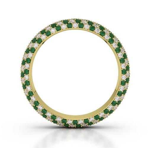 Or jaune 18carats 1,50CT G-H/VS sertie de diamants ronds découpé Émeraude et bague éternité Agdr-1116