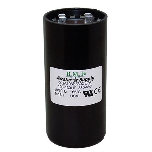 108-130 uF x 330 VAC BMI//USA Start Capacitor # 092A108B330CE7A with Bleed Resistor 2 Pack