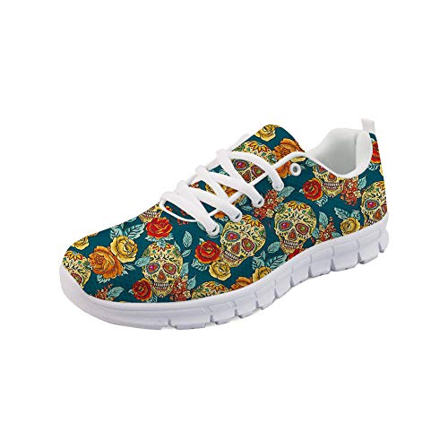 (chaqlin Fashion Trainers Road Running Shoes for Women Skull Pattern Outdoor Casual Leisure Walking Jogging Shoe Sneakers for Ladieis Teenager Girls Comfort Size EUR 43)