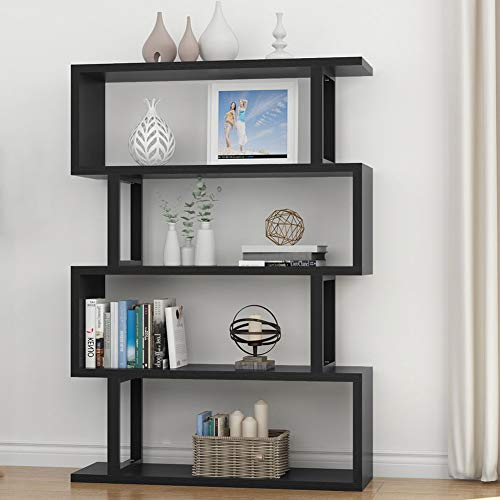 Contemporary Display Unit - Tribesigns 4 Shelf Bookshelf Modern Bookcase Display Shelf Storage Organizer for Living Room, Home Office, Bedroom (Black)