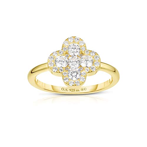 Unique Royal Jewelry Solid 925 Sterling Silver Invisible Set Cubic Zirconia Four Leaf Clover Ring. (14K Yellow Gold Plated Sterling Silver Size-7)