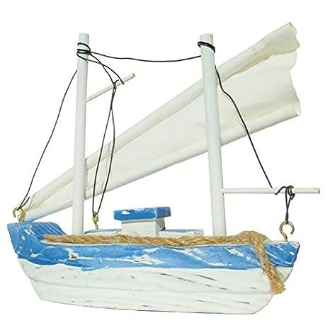 Maqueta antiguo barco de pesca a vela en madera color blanco ...