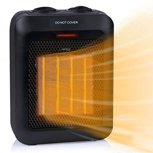 1500W / 750W Ceramic Space Heater with Overheat Protection & Tip-Over Protection, Portable Heater with Thermostat Control for Office (Black)