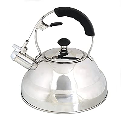Whistling Stove Top Kettle Teapot with Layered Capsule Bottom, Silicone Handle, Stainless Steel Silver Mirror Finish Tea Pot , 2.75 Quart by Foodie Aid