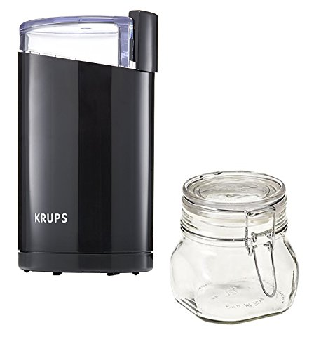 Krups Coffee Grinder Bundle with Krups F203 Coffee and Spice Grinder Electric, Mini Glass Coffee Canister Airtight; Small Coffee Grinder Krups Used Best as Electric Espresso Grinder