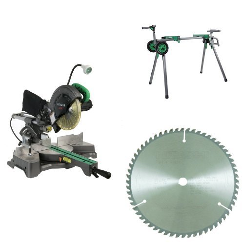 Hitachi C8FSHE Miter Saw with Stand and Blade