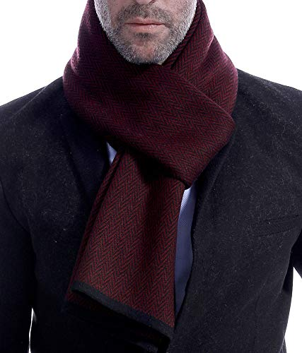 Runtlly Mens Cashmere Scarf Warm - Wool Scarves for Fall & Winter LS0148-3 LightBlue Black by Runtlly (Image #1)