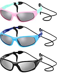 feead5e5391c 3 Sets Kids Sunglasses Children Sports Sunglasses with Rubber Strap for  Boys and Girls Daily Wear
