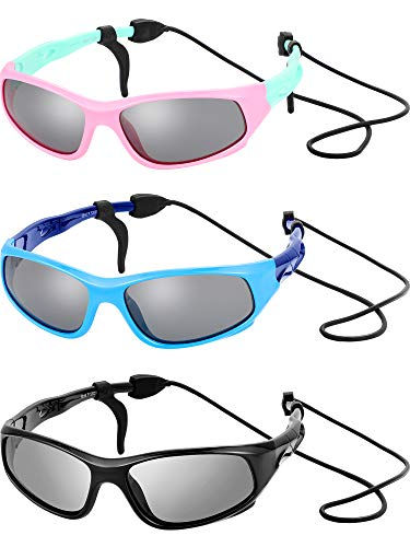 3 Sets Kids Sunglasses Children Sports Sunglasses with Rubber Strap for Boys and Girls Daily Wear (Color Set 1, 3 Sets) (Kids Sunglasses)
