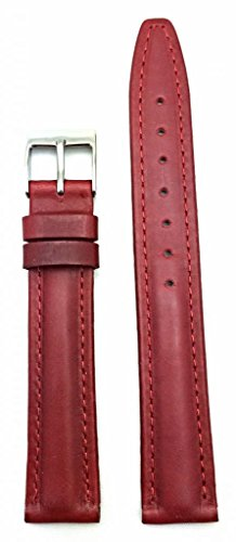16mm Red Oily Leather, middle padded, a Stylish watch strap