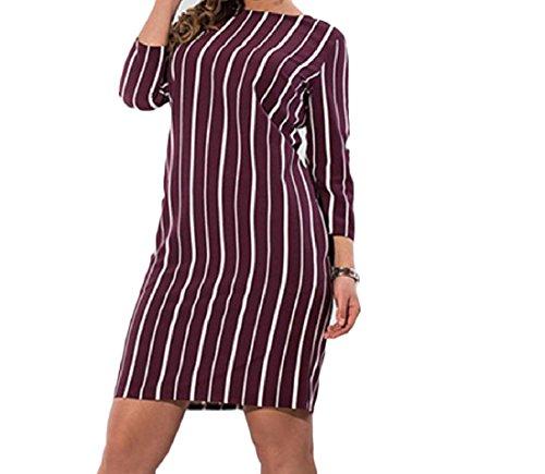 Stripe Sera Rosso size Vino Coolred Eleganti Plus Abiti Donne Imbucata Da Splicing wqaH1I1