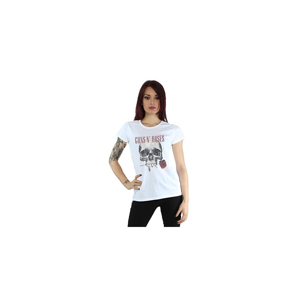 Guns N Roses Mujer Flower Skull Camiseta