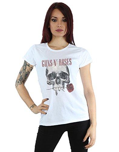 - Guns N Roses Women's Flower Skull T-Shirt Large White