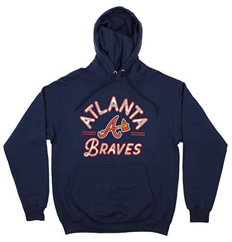 Zubaz MLB Men's Arched Logo Fleece Pullover Hoodie, Atlanta Braves, Medium Atlanta Braves Pullover Jacket
