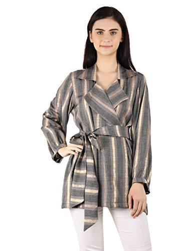 MOH The Eternal Dhaga Foil Rayon V Neck Striped Full Sleeve Grey Casual Women Belt Blazer