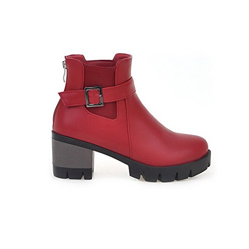 Toe Solid Kitten Boots Red top Closed Heels WeiPoot Material Women's Round Soft Low wqIvvt