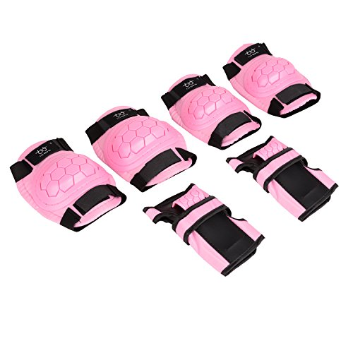 KUKOME-SHOP Kids Children Roller Skating Skateboard BMX Scooter Cycling Protective Gear Pads (Knee pads+Elbow pads+wrist pads) (Pink, S) by KUKOME-SHOP (Image #1)