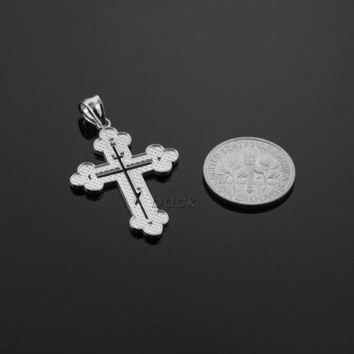 Doré Crucifixes pour femme 10K Or blanc orientale Orthodoxe Croix Charm pendentif avec diamant naturel