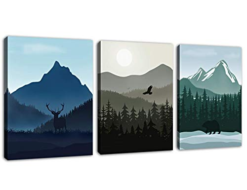 """Virgin Forest Mountain Canvas Wall Art Deer Eagle Bear Contemporary Canvas Artwork Misty Woods Picture Tree Of Life Painting Prints for Living Room Bedroom Office Wall Decor 12"""" x 16"""" x 3 Pieces"""