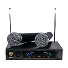 Nady DKW DUO HT P/R VHF Dual Wireless Handheld Microphone System – includes 2 microphones, AC adapter and audio cable – Easy setup – Karaoke, performance, presentation, public address