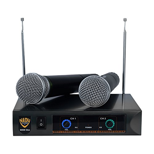 Nady DKW DUO HT P/R VHF Dual Wireless Handheld Microphone System - includes 2 microphones, AC adapter and audio cable - Easy setup - Karaoke, performance, presentation, public address