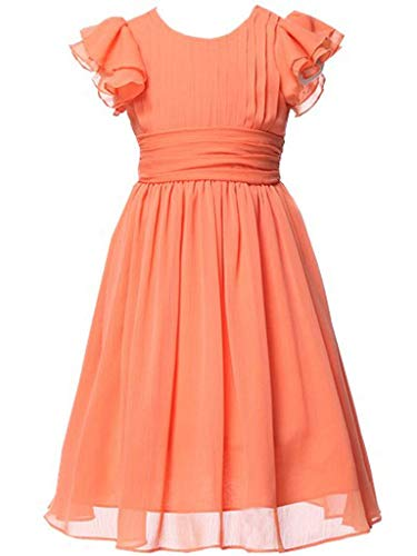 Happy Rose Flower Girl's Dress Prom Party Dresses Bridesmaid Dress Orange 14]()