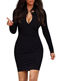 Women Lady Keyhole with Metal Buckle Bodycon Pencil Party Dress