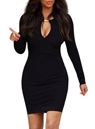 OFTEN Women Lady Keyhole with Metal Buckle Bodycon Pencil Party Dress,Black,Small