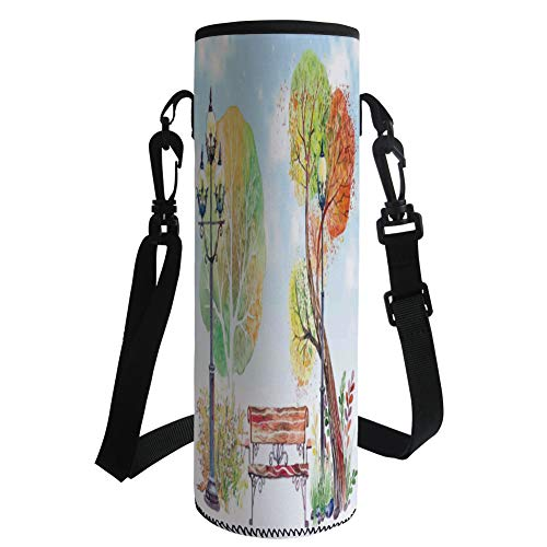 Water Bottle Sleeve Neoprene Bottle Cover,Lantern,Colorful Fall Trees Wooden Bench Lantern in Park on Blue Sky Street Lamps Decorative,Orange Yellow Green,Fit for Most of Water Bottles by iPrint