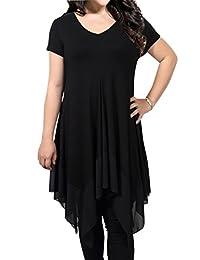 Gprince Women Short Sleeve Loose Spliced Asymmetrical Plus Size Tunic Top Short Dress