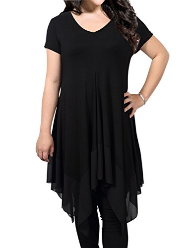 AMZ PLUS Women Short Sleeve Spliced Asymmetrical Plus Size Tunic Top Black 2XL