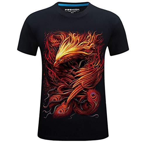T-Shirts for Men, MmNote Print Red Phoenix Flying Print Loose Elastic Antibacterial Breathable Casual Short Sleeve