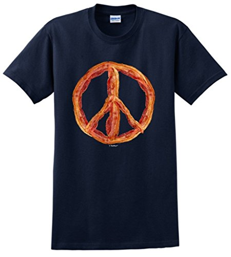 Bacon Lover's Peace Sign T-Shirt 4XL Navy