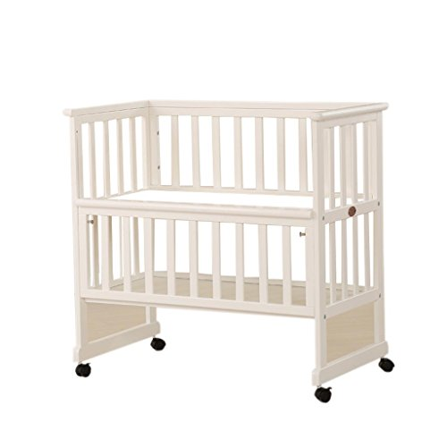 ALUS- 0~6 Years Old Baby Crib, Dual Use Baby Changing Table Pine Wood Removable Finishing Station, with Brake Height Adjustable Load 60 Kg (Color : White)