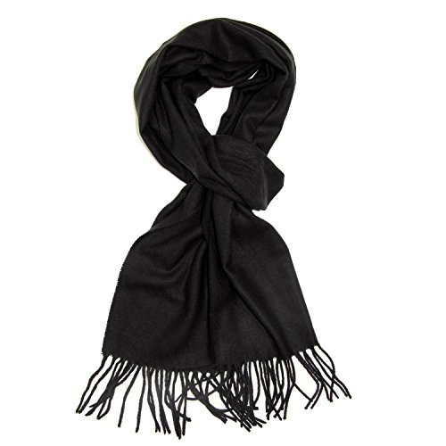 Plain Solid Color Cashmere Feel Classic Soft Luxurious Winter Scarf For Men Women (Black) by TZ Promise (Image #1)