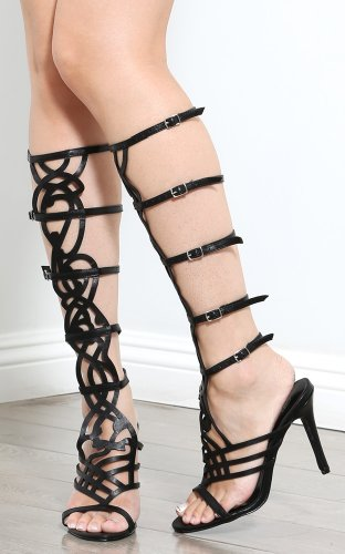 Breckelle's Diva-36 Buckle Gladiator Heels, Black, 7 M US
