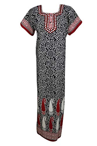 Mogul Interior Womens Printed Caftan Nightgown Embroidered for sale  Delivered anywhere in USA