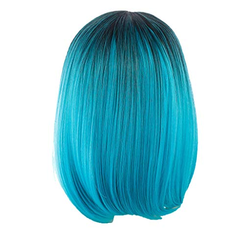 NRUTUP Black Pink Hair Straight Bob Wigs Clearance Synthetic Hair Short Party Hair Wig Hot Sales(Sky Blue,Free Size)