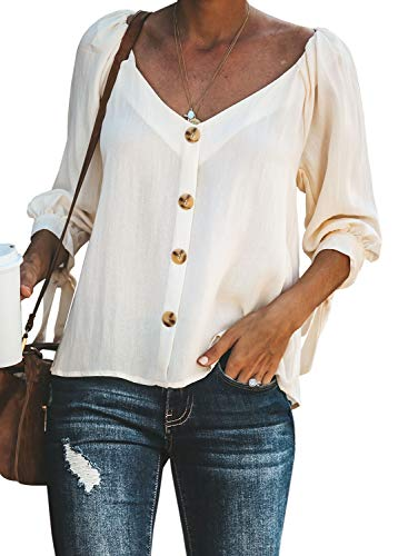 Button Up Long Sleeve Blouse - BLENCOT Women's Fall Lace Up Long Sleeve T Shirts Button Up V Neck Soft Flowy Fashion 2019 Blouses Tops White M