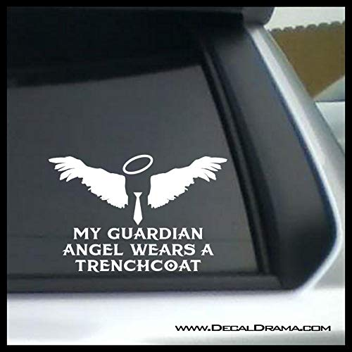 - My Guardian Angel Wears a Trenchcoat Vinyl Car/Laptop Decal