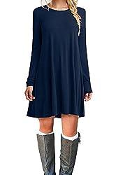 Molerani Women S Casual Plain Long Sleeve Simple T Shirt Loose Dress L Navy Blue