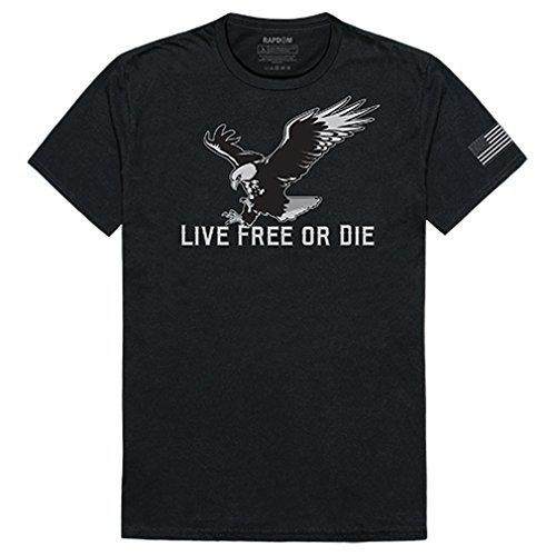 RAPDOM Live Free Or Die 2 Men's Graphics Tees Crew T Shirt - Black, ()