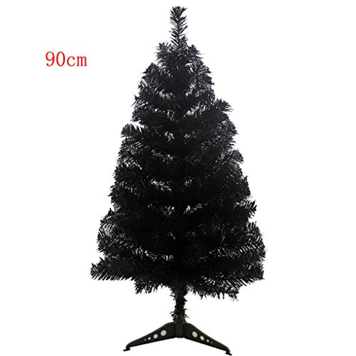 S-ssoy 3ft Artificial Christmas Tree With Plastic Stand Holiday Season Indoor Outdoor Decoration(PVC), Black (Artificial Outdoor Xmas Trees)