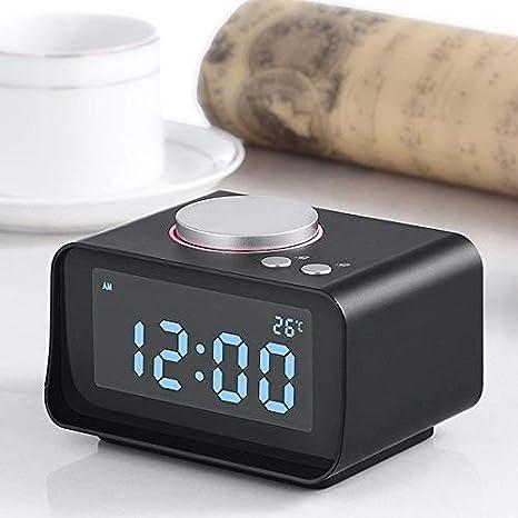 POKL Despertador LCD Radio FM Función Aux Reloj Digital Snooze ...