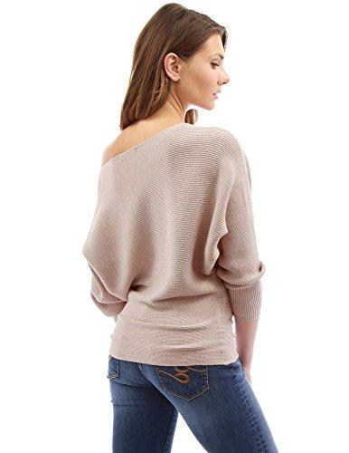 Beige Donne PattyBoutik batwing una spalla coste maglione ZwYx61pqxR