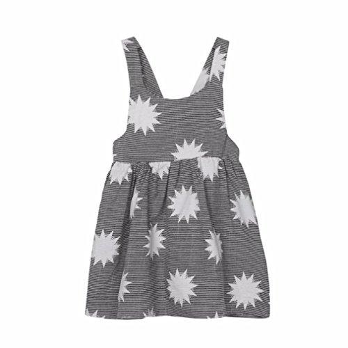 Clearance Sale!! Kids Toddler Baby Girl Moon Stripe Print Sleeveless Backless Summer Beach Dress Sundress Clothes (Gray, 3T)
