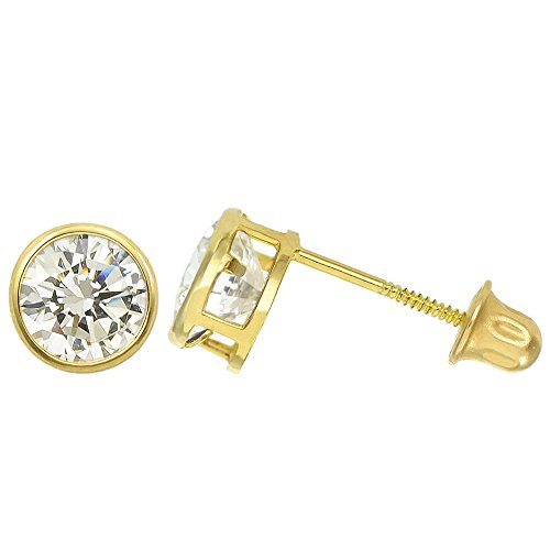 14K Yellow Gold 1.3 Cttw Round Cut Clear Cubic Zirconia Bezel Set Stud Earrings (Screw Back)