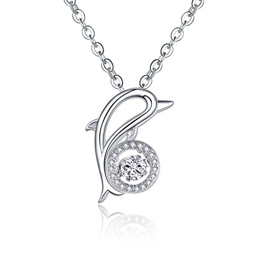 JO WISDOM 925 Sterling Silver Dancing Diamond Cubic Zirconia Dolphin Pendant Necklace,18-20