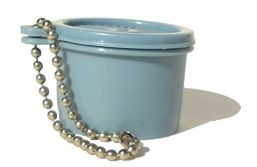 Vintage Tupperware Mini Servalier Canister Keychain Country Blue Rare